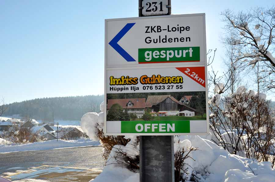 Station Forch, ZKB-Loipe gespurt, Imbiss offen